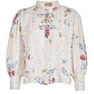 LOVESHACKFANCY Tegan Silk blouse victorian L